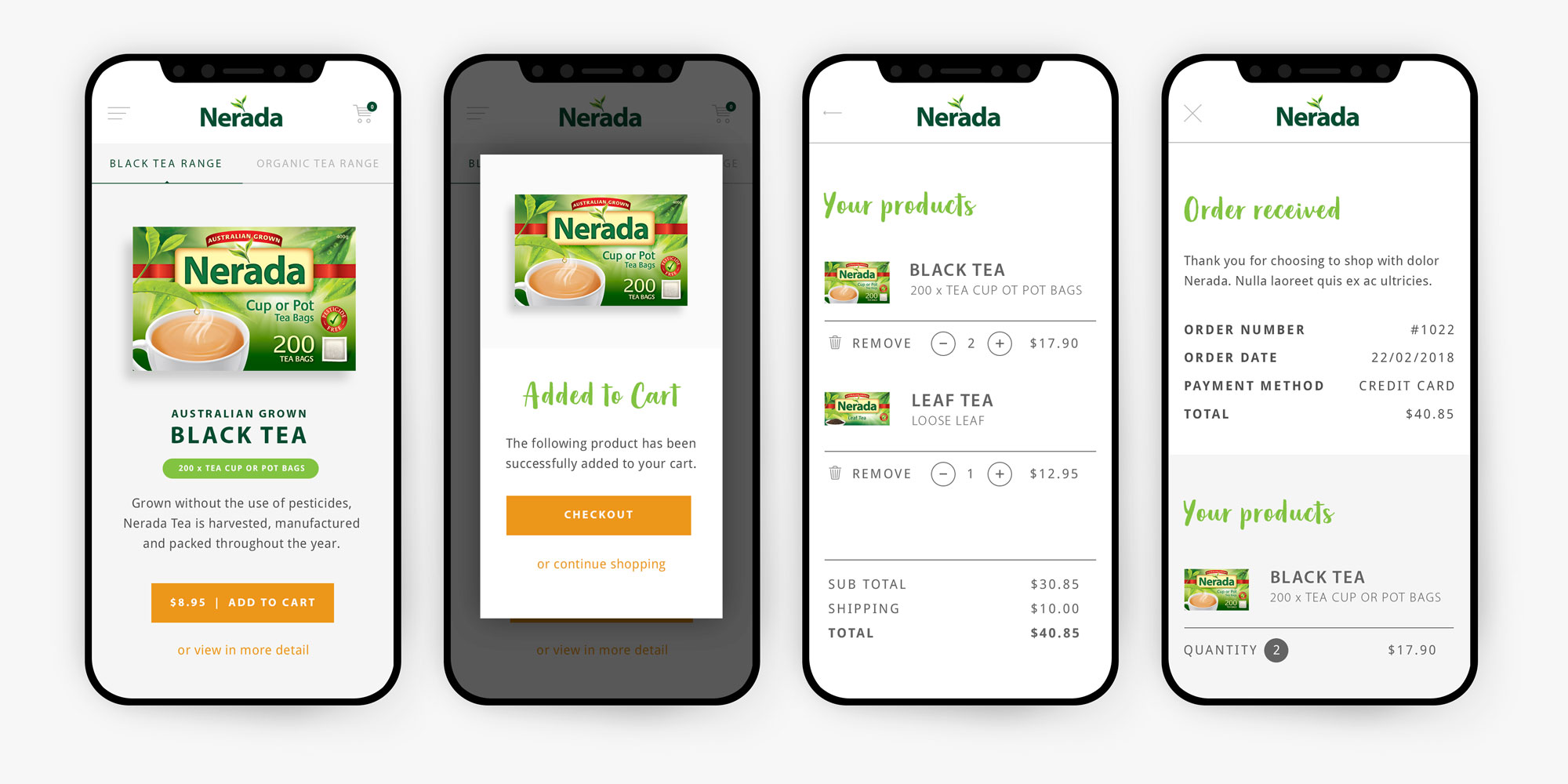 Nerada Tea Mobile User Interface Design