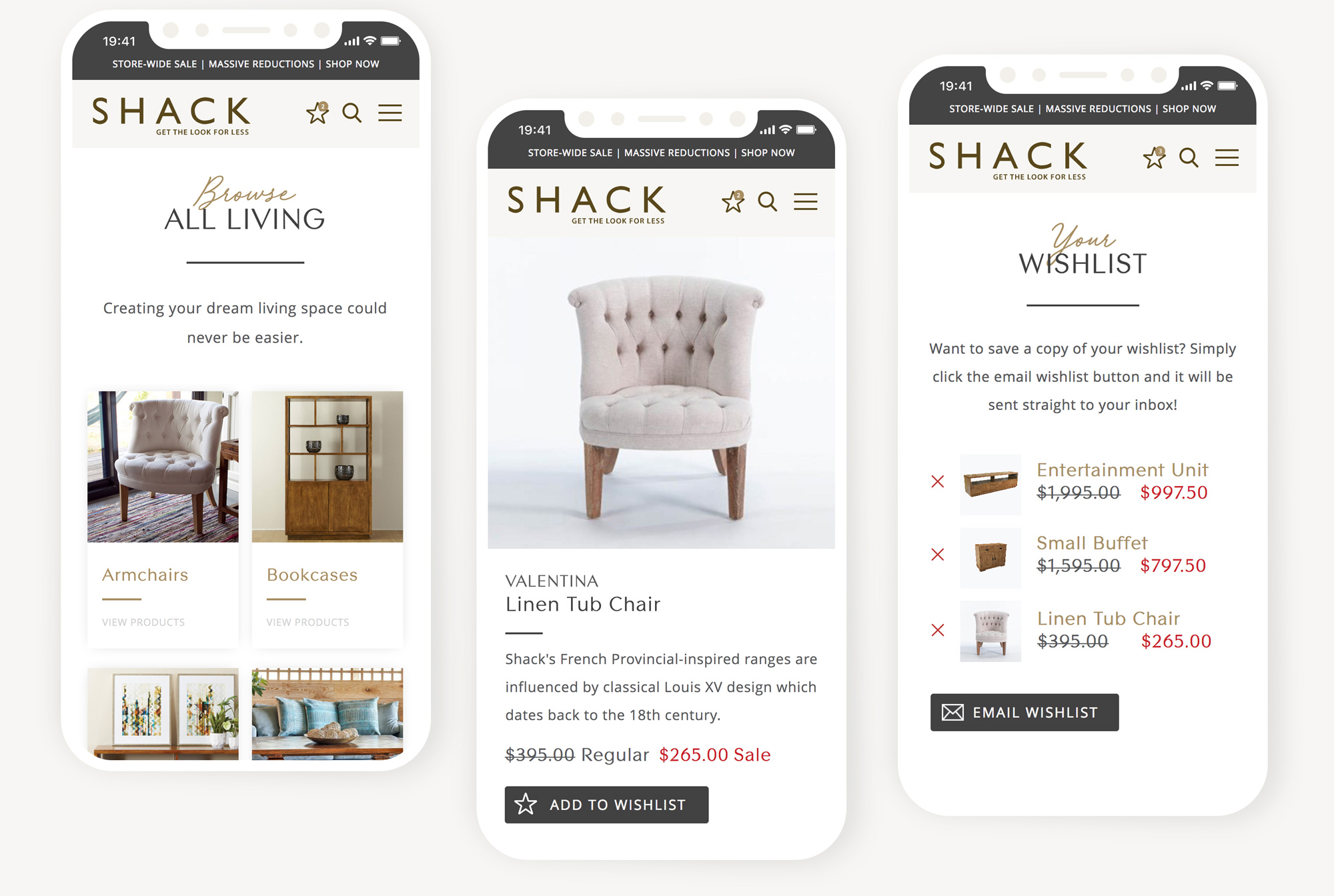 Shack Furniture Creative Mobile Website